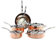 Tri-Ply 10pc. Hammered Copper Cookware Set