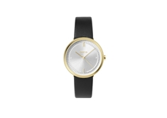 Agnes Gold And Blk Leather  34mm Women's