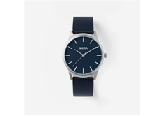 Men's Bresson Stainless Steel Navy Leather Strap Watch,39mm