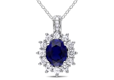 4 CT Created Sapphire and 0.02 CT Diamond Pendant in Silver