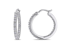 1/4 CT Diamond Hoop Earrings in Silver