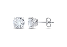 4 4/5 CT Created White Sapphire Stud Earrings in Silver