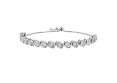 1/2 CT Diamond Bolo Bracelet in Sterling Silver