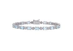 7 1/5 CT Aquamarine and 0.02 CT Diamond Bracelet in Silver