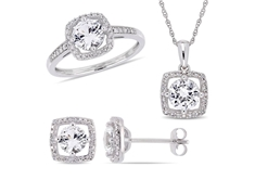 White Sapphire and Diamond-Accent 3pc. Set