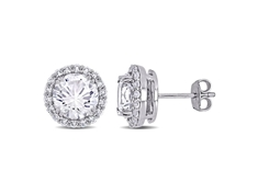 White Sapphire Halo Stud Earrings