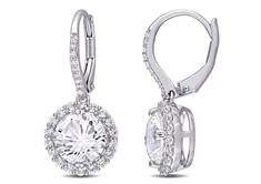 White Sapphire and Diamond-Accent Earrings