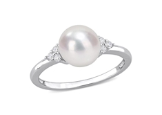 Pearl and CZ Fashion Ring - Sz.7