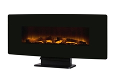 "42"" Curved Wall Mount Fireplace-Black Glass"