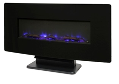 "36"" Curved Wall mount Fireplace - Black Glass"