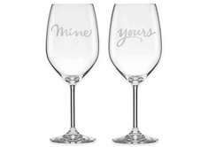 """Mine"" and ""Yours"" 2-piece Wine Glass Set"