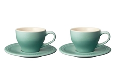 .2 L Cappuccino Cups and Saucers - Set of 2 - Sage